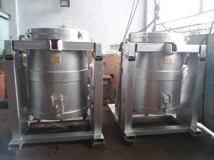 (Tiếng Việt) Lò nung nhôm dạng nồi gas nghiêng đổ nhôm 300kg